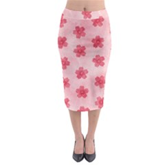 Watercolor Flower Patterns Midi Pencil Skirt