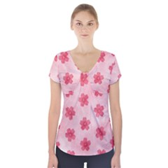 Watercolor Flower Patterns Short Sleeve Front Detail Top