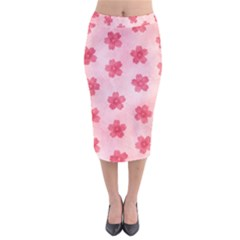 Watercolor Flower Patterns Velvet Midi Pencil Skirt
