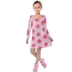 Watercolor Flower Patterns Kids  Long Sleeve Velvet Dress
