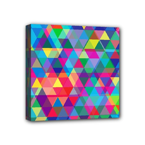 Colorful Abstract Triangle Shapes Background Mini Canvas 4  x 4