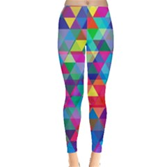 Colorful Abstract Triangle Shapes Background Leggings