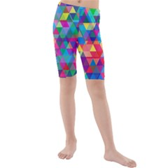 Colorful Abstract Triangle Shapes Background Kids  Mid Length Swim Shorts