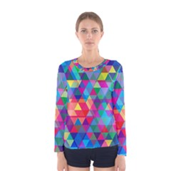 Colorful Abstract Triangle Shapes Background Women s Long Sleeve Tee