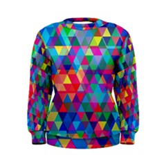 Colorful Abstract Triangle Shapes Background Women s Sweatshirt