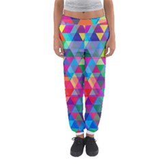 Colorful Abstract Triangle Shapes Background Women s Jogger Sweatpants