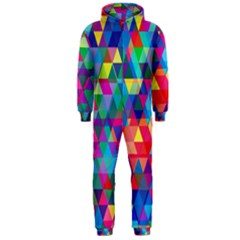 Colorful Abstract Triangle Shapes Background Hooded Jumpsuit (Men)