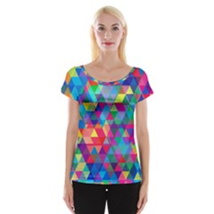 Colorful Abstract Triangle Shapes Background Women s Cap Sleeve Top