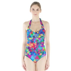 Colorful Abstract Triangle Shapes Background Halter Swimsuit