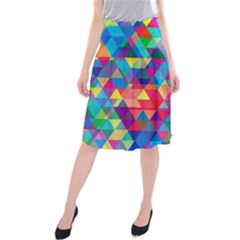 Colorful Abstract Triangle Shapes Background Midi Beach Skirt
