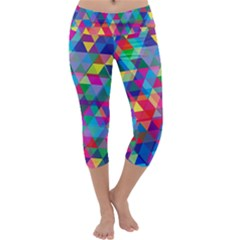 Colorful Abstract Triangle Shapes Background Capri Yoga Leggings