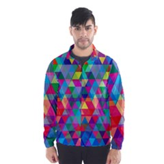 Colorful Abstract Triangle Shapes Background Wind Breaker (Men)