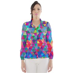 Colorful Abstract Triangle Shapes Background Wind Breaker (Women)