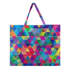 Colorful Abstract Triangle Shapes Background Zipper Large Tote Bag