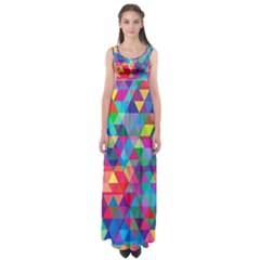 Colorful Abstract Triangle Shapes Background Empire Waist Maxi Dress
