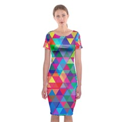 Colorful Abstract Triangle Shapes Background Classic Short Sleeve Midi Dress