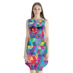 Colorful Abstract Triangle Shapes Background Sleeveless Chiffon Dress