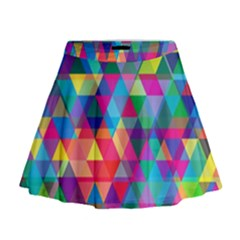 Colorful Abstract Triangle Shapes Background Mini Flare Skirt