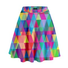 Colorful Abstract Triangle Shapes Background High Waist Skirt