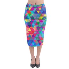 Colorful Abstract Triangle Shapes Background Midi Pencil Skirt