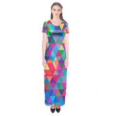 Colorful Abstract Triangle Shapes Background Short Sleeve Maxi Dress
