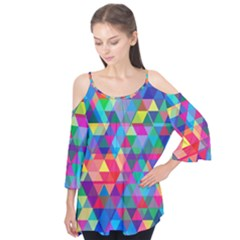 Colorful Abstract Triangle Shapes Background Flutter Tees