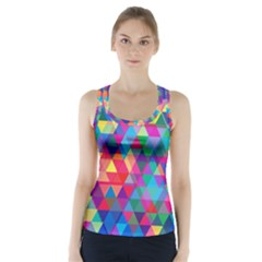Colorful Abstract Triangle Shapes Background Racer Back Sports Top