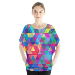 Colorful Abstract Triangle Shapes Background Blouse