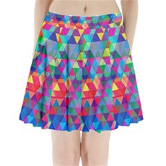 Colorful Abstract Triangle Shapes Background Pleated Mini Skirt