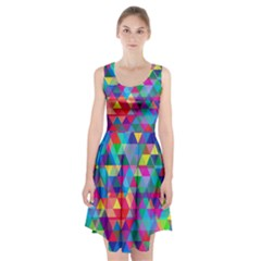 Colorful Abstract Triangle Shapes Background Racerback Midi Dress