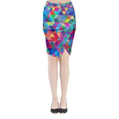 Colorful Abstract Triangle Shapes Background Midi Wrap Pencil Skirt