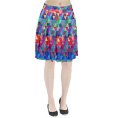 Colorful Abstract Triangle Shapes Background Pleated Skirt