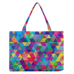 Colorful Abstract Triangle Shapes Background Medium Zipper Tote Bag