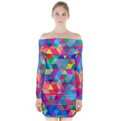 Colorful Abstract Triangle Shapes Background Long Sleeve Off Shoulder Dress