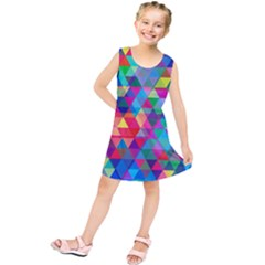 Colorful Abstract Triangle Shapes Background Kids  Tunic Dress