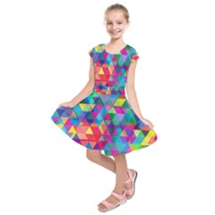 Colorful Abstract Triangle Shapes Background Kids  Short Sleeve Dress