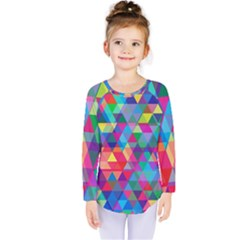 Colorful Abstract Triangle Shapes Background Kids  Long Sleeve Tee
