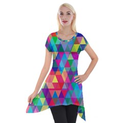 Colorful Abstract Triangle Shapes Background Short Sleeve Side Drop Tunic