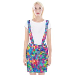 Colorful Abstract Triangle Shapes Background Suspender Skirt