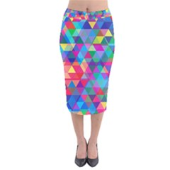 Colorful Abstract Triangle Shapes Background Velvet Midi Pencil Skirt