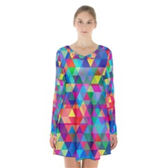 Colorful Abstract Triangle Shapes Background Long Sleeve Velvet V Neck Dress