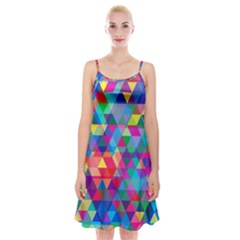 Colorful Abstract Triangle Shapes Background Spaghetti Strap Velvet Dress