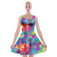 Colorful Abstract Triangle Shapes Background Velvet Skater Dress