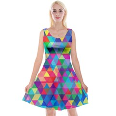 Colorful Abstract Triangle Shapes Background Reversible Velvet Sleeveless Dress