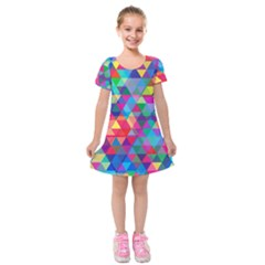 Colorful Abstract Triangle Shapes Background Kids  Short Sleeve Velvet Dress