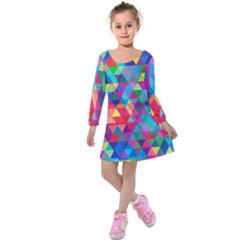 Colorful Abstract Triangle Shapes Background Kids  Long Sleeve Velvet Dress