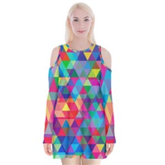 Colorful Abstract Triangle Shapes Background Velvet Long Sleeve Shoulder Cutout Dress