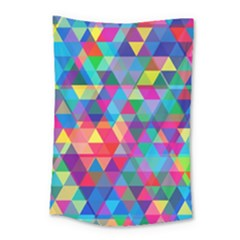 Colorful Abstract Triangle Shapes Background Small Tapestry