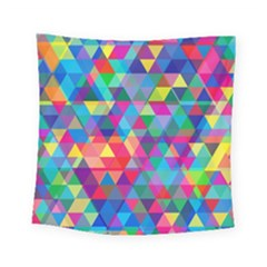 Colorful Abstract Triangle Shapes Background Square Tapestry (small)
