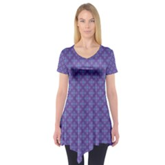 Abstract Purple Pattern Background Short Sleeve Tunic